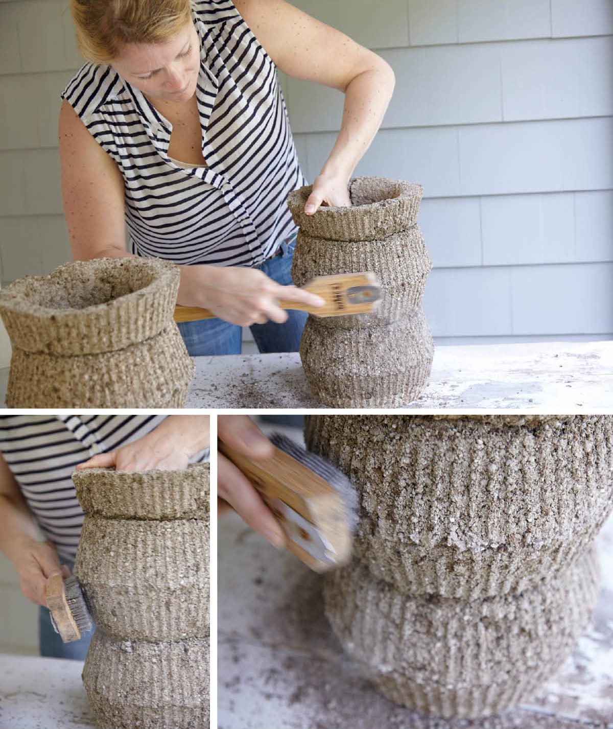 Hypertufa potting party a mere life for How to make designs in concrete